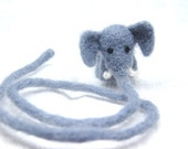 Needle Felted Elephant Bookmark, Grey Wool Book Thong, Long Pachyderm Trunk, Felted Animal Bookmark for Charity