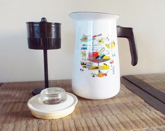 Mid Century Enamel Percolator with Colorful Kitchen Graphics