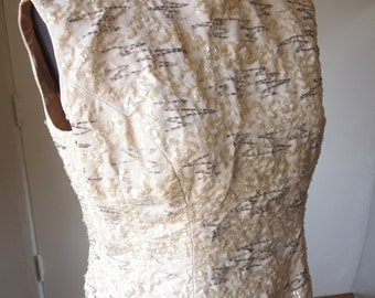 Vintage 50's Beaded Shell, Sequined Sleeveless Top, Beige Cream and Gray, Sleeveless Tank, Size Small to Medium, Bust 37, SALE