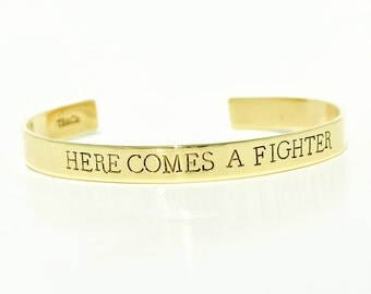 Here Comes A Fighter Cuff Bracelet . Breast Cancer Awareness