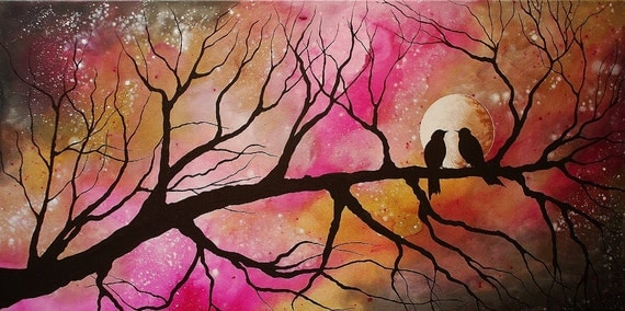 Fine Art Giclee Print of Original Painting Majestic Evening Amber Elizabeth Lamoreaux Pink Gold Sepia Love Birds Moon Branches Star