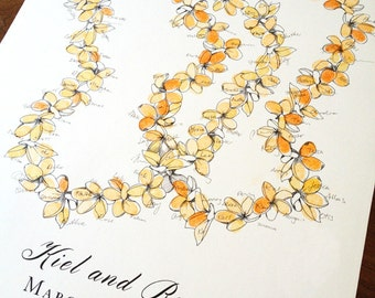 Aloha lei, alternative guestbook, Extra Large Lei, Original guest book fingerprint wedding art for 200 guests