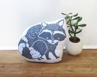 Plush Raccoon Pillow. Hand Woodblock Printed. Pick your colors. Made to order.