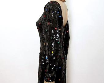 Vintage 1980s Party Dress Black Sequin Polka Dot Low Back Dress / Small