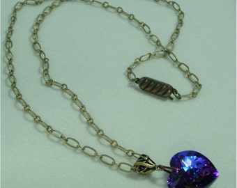 Necklace - Purple Crystal Heart on Antiqued Brass Chain