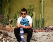 Vintage 70's t-shirt, fuzzy lettering, blue & white color blocking, raglan sleeves - Men's Medium