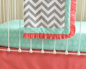 Bumperless Coral Crib Bedding-  Sweet Sorbet Chevron