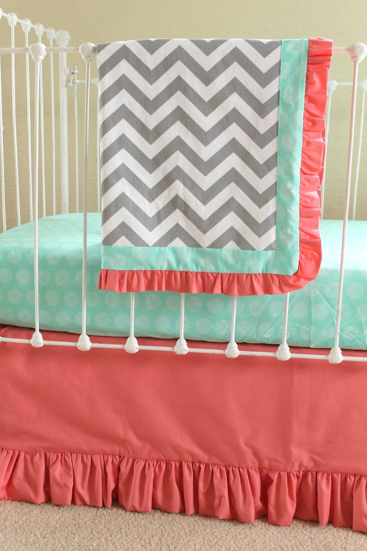 Bumperless Coral Crib Bedding Sweet Sorbet Chevron