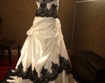 Stunning Black and White Wedding Dress converts to reception dress Custom Made to your Measurements