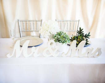 White or Custom Painted Mr and Mrs Sign Wedding Sweetheart Table Decor Mr & Mrs Wooden Letter Thick Mr and Mrs Wedding Sign (Item - MTS100)