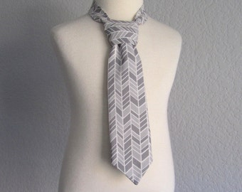 Little Boys Grey Necktie - Chevron Stripes - Pre-Tied Necktie - Grey and White Chevron Stripes - Velcro Fastening Tie - Size XS, S, M, or L