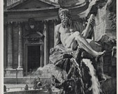 Rome fountain, BW Italian photo, photograph of Fountain of the Four Rivers, Italian landmark, Italy BW photo decor