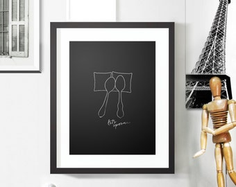 SALE: Let's Spoon, Black Modern Poster / Wall Decor Print for Your Bedroom / Minimalist Poster / Wedding Gift