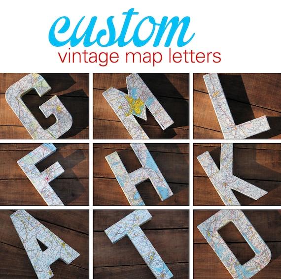 Custom vintage map covered letter alphabet home decor Letter n home decor