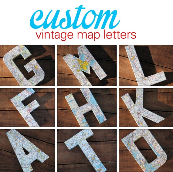 Custom Vintage Map Covered Letter Alphabet Home Decor