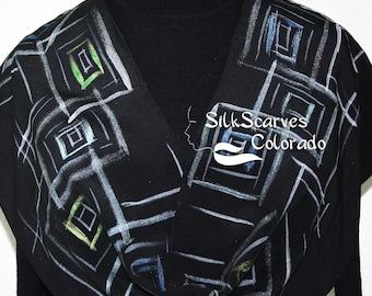 Hand Painted Silk Scarf. Black & Silver Handmade Silk Scarf, NIGHT JAZZ. Size 11x60 in. Silk Scarves Colorado. Hand Dyed Scarf 100% silk.