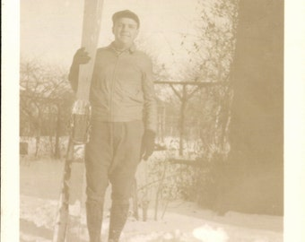 Vintage Photo, Man in Snow Holding Skis, Skier, Black & White Photo, Antique Photo, Old Photo, Found Photo, Vernacular Photo    0083