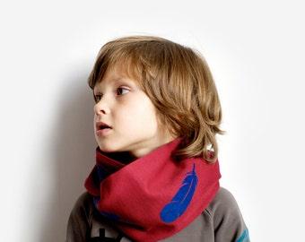 Feathers, infinity Scarf, Kids. Double warm jersey scarf boy girl handmade winter fall