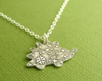 Hedgehog Necklace, Flowering Vine Hedgehog, Fine Silver, Sterling Silver Chain, Made To Order