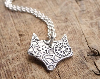 Little Fox Necklace, Foxy Lady, Flowered Fox, Fine Silver, Sterling Silver Chain, Made To Order