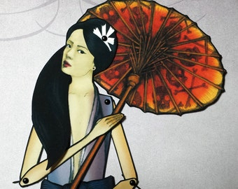 Asami Yamazaki Japanese Style Jointed Paper Doll with Parasol