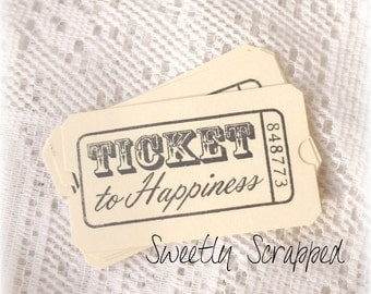 Ticket To Happiness Stub, Cream and Black