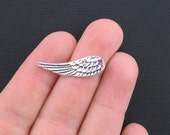 BULK 40 Wing Charms Antique Silver Tone Lovely Feathered Design 2 Sided - SC3359