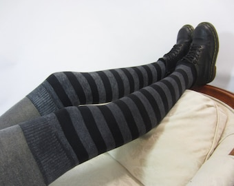 Striped Thigh High Socks Leg Warmers Black / Gray Mismatched Over the Knee LegWarmers Distressed Cotton Boot Socks Grey Stripe A1142