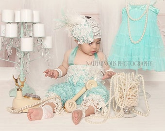 Baby Girl Romper set, aqua lace romper, Vintage Set, Birthday Romper Set/Great Gastby Birthday/Cake Smash Outfit/1st Birthday Photo Shoot