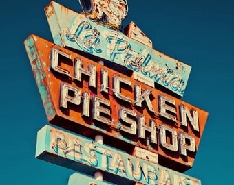 La Palma Chicken Pie Shop Neon Sign - Retro Kitchen Decor - Blue Red and White - Retro Home Decor - Typography - Fine Art Photography