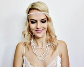 1920s flapper style white circles with silver rhinestones