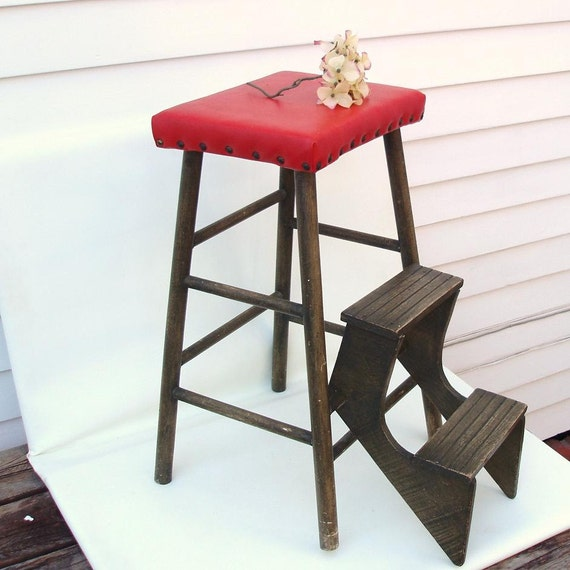 1940s Wood Fold Out Step Ladder Kitchen Stool Wooden Step