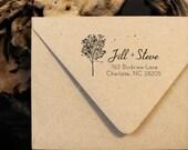 Wood Mounted - Custom Address Stamp - Personalized Return Address Stamp - Tree Stamp - Fall Design - Housewarming - DIY Addressing - Wedding