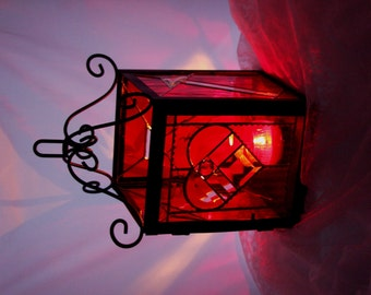 Red Romantic Wrought Iron Stained Glass Lantern Candle Holder Valentine's Day