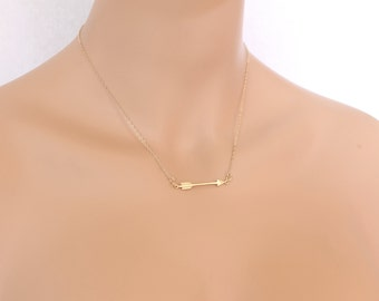 Gold Sideways Arrow Necklace, Southwestern Native American, Archery, Birthday Present, Friends