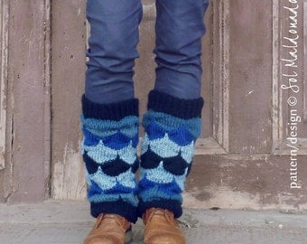 Boot Cuff Geometric - Knitting pattern PDF - Legwarmers knit photo tutorial  - Instant DOWNLOAD