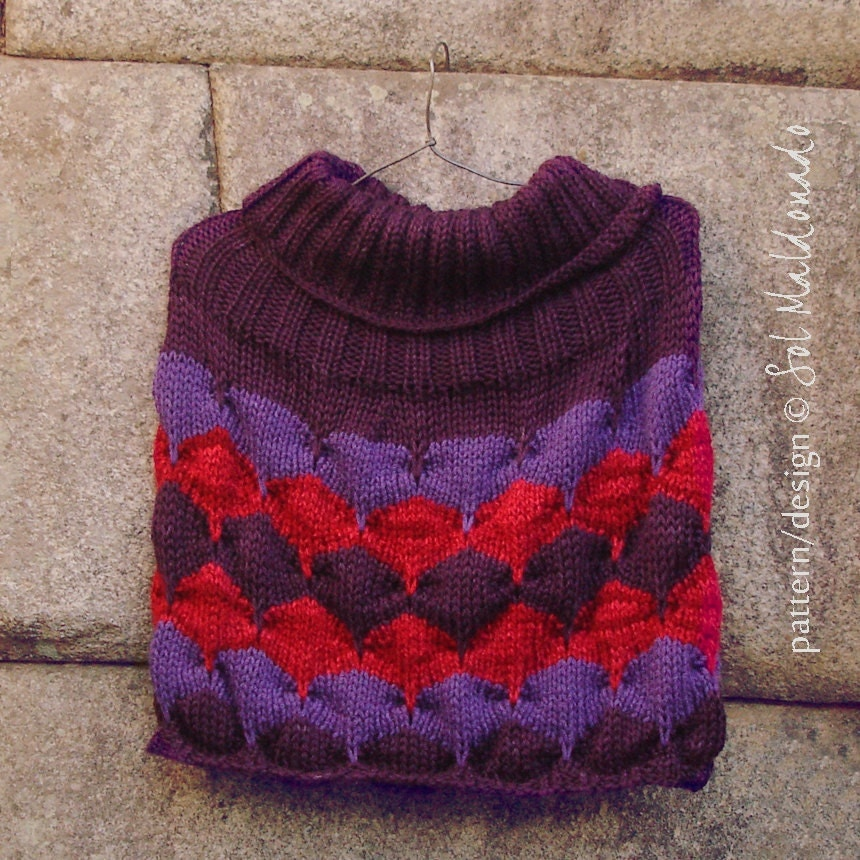 Poncho Knit Pattern Geometric Shawl Cape Instant DOWNLOAD