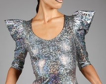 Holographic Silver Top w. Puffy Sleeves, Hologram Spandex, Dance Stage Wear, Glam Rock Clothing, Space Outfit, Winter Wedding, by LENA QUIST