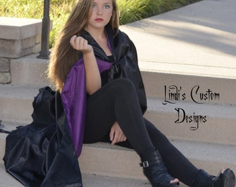 Black Satin & Purple Lined Hooded Cape for Children, Teens, Adults, Costume Accessory, Villain