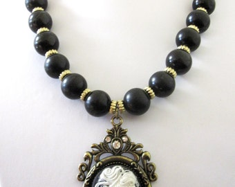 Skeleton Lady Cameo Necklace Skull Day of the Dead Jewelry Black Gold