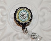 Retractable Badge Holder Id Reel  Fabric Covered Button Cute Flower