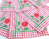 Red White Gingham Check Placemats Hand Embroidered Cross Stitch Set of Six Handmade