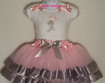 1st Birthday Tutu Outfit / Pink & Silver / Tutu + Onesie / Bling Crown / Cake Smash / Photo Shoot / Girl / Toddler / Boutique Clothing