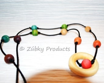 Rainbow Baby Wooden Teething Necklace for Nursing Breastfeeding Babywearing Mothers