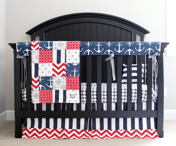 Nautical Infant Bedding: Nautical Crib Bedding Red Navy Blue Grey Anchor By