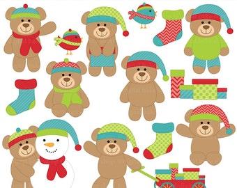 christmas bears clipart clip art digital - Christmas Teddy Bears Clipart