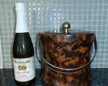 Ice Bucket Padded & insulated wine bucket-Vintage Barware-champagne chiller-retro mid century barware decor-man cave decor