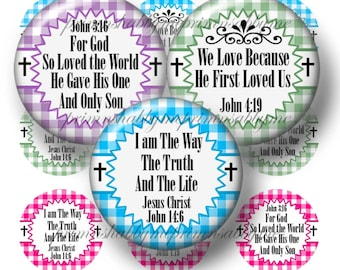 CHRISTIAN, Digital Collage sheet, Bottle Cap Images, 1 Inch circle, Instant Digital Download, Jesus, Bible Verses  (No.4)