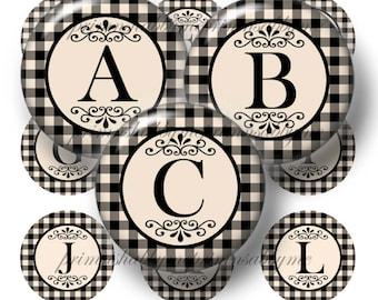 Alphabet, Letters, Bottle Cap Images, Digital Collage Sheets, 1 Inch Circles, Digital Download, Black and Antique White, Gingham, Plaid,