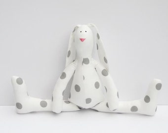Stuffed bunny rabbit hare plush rabbit bunny white gray polka dots cute softie stuffed toy - birthday gift for boy and girl